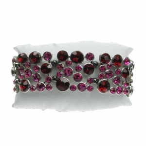 Magnetic Hematite Ruby Red and Cerise Jewel Bracelet