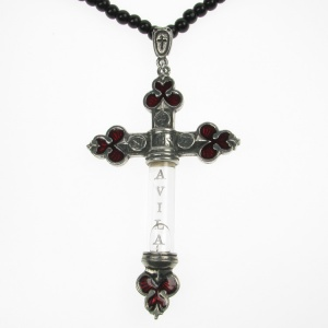Alchemy Gothic St Teresas Sacramental Vial Pendant and Black Bead Necklace