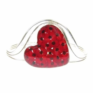 Poppy Heart Chunky Silver Bangle