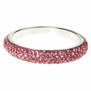 Pink Crystal Bangle - Five Rows