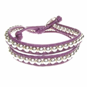 Childrens Purple Double Row Wrap Bracelet