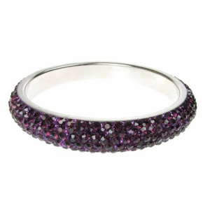 Purple Crystal Bangle - Five Rows