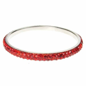 Red Crystal Bangle - Two Rows