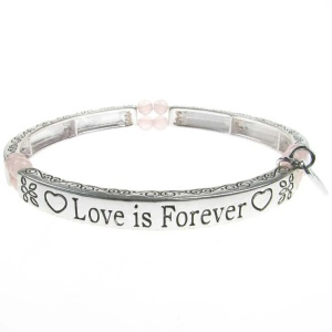 Rose Quartz Sentiment Bracelet - Love is Forever