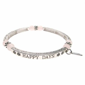 Rose Quartz Sentiment Bracelet - Happy Days
