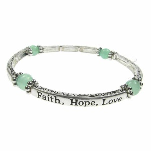 Jade Sentiment Bracelet - Faith - Hope - Love