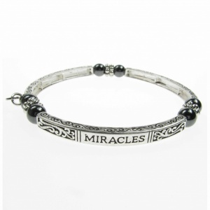 Magnetic Hematite Sentiment Bracelet - Miracles