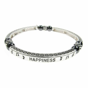 Magnetic Hematite Sentiment Bracelet - Happiness