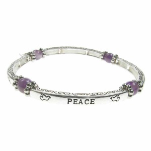 Amethyst Sentiment Bracelet - Peace