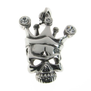 Skull and Crown with 3 CZ Pendant