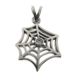 Spiderweb with CZ Stainless Steel Pendant