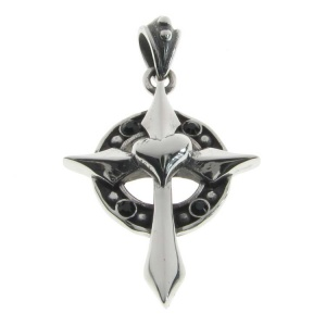 Gothic Cross with Heart and Black CZ