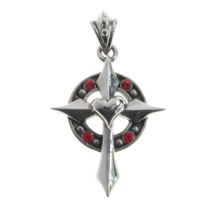 Gothic Cross with Heart and Red CZ