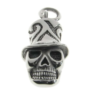 Skull with Top Hat Engraved Pendant
