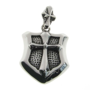 Cross and Shield Steel Pendant