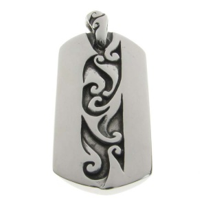Dog Tag with Central Design Steel