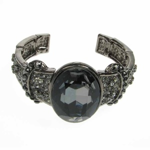 Large Black Crystal and Silver Cuff