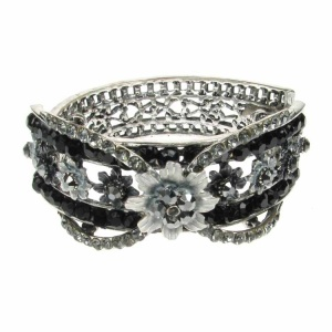 Black and Silver Flower Cuff