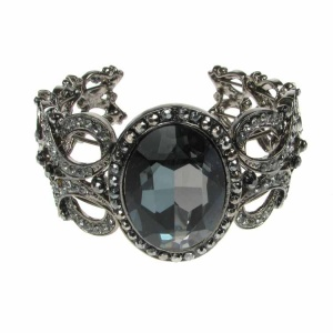 Oval Black Crystal and Silver Cuff