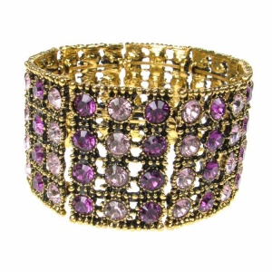 Gold and Purple Crystal Stack Bracelet