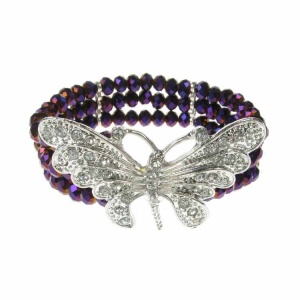Silver Butterfly and Purple Crystal Bracelet