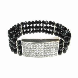 Square Diamante and Black Crystal Bracelet