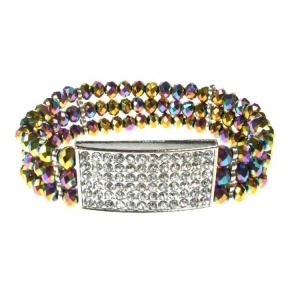Square Diamante and Rainbow Crystal Bracelet