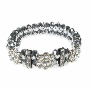 Silver Crystal and Flower Diamante Bracelet
