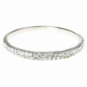Silver Crystal Bangle - Two Rows