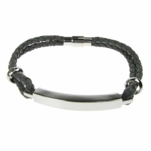 Grey Leather and Stainless Steel ID Bracelet