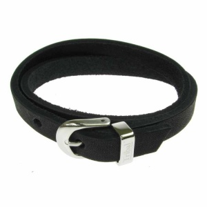 Black Leather and Stainless Steel 10mm Buckle 2 Row Wrap Bracelet