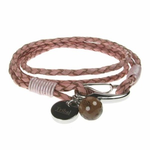 Pink Leather and Stainless Steel 2 Row Wrap Bracelet