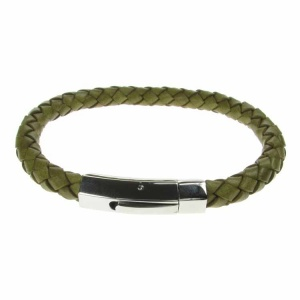 Green Leather and Stainless Steel 6mm Plait Bracelet