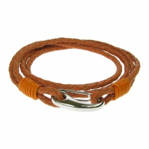 Orange Leather and Stainless Steel 2 Row Wrap Bracelet