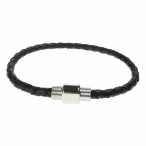 Black Leather and Stainless Steel 4mm Plait Bracelet
