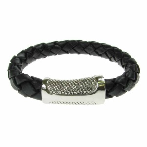 Black Leather and Stainless Steel Sheath Clasp 10mm Bracelet