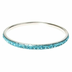 Turquoise Crystal Bangle - Single Row