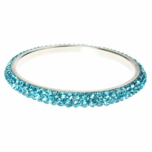 Turquoise Crystal Bangle - Three Rows