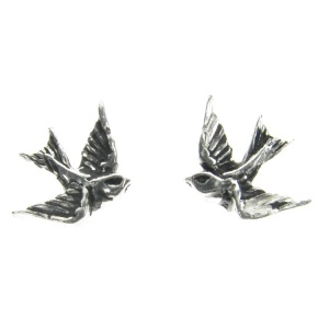 Alchemy Gothic Swallow Stud Earrings