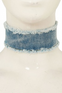 Denim Frayed Choker Necklace