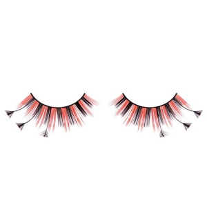 Red and Black False Eyelashes Extra Long Flared