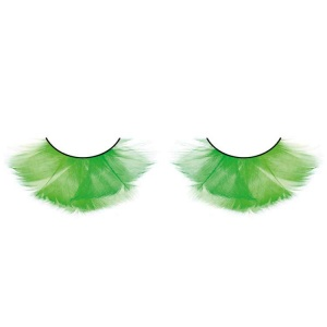 Green Feather False Eyelashes Flared
