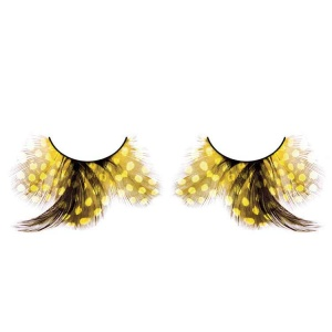 Yellow Spotted Feather False Eyelashes Flared