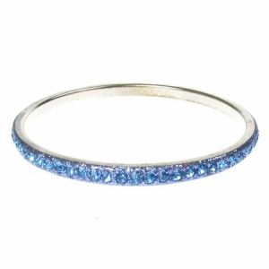 Blue Crystal Bangle - Single Row