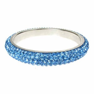 Blue Crystal Bangle - Five Rows