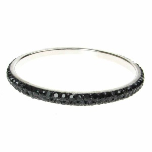 Black Crystal Bangle - Two Rows