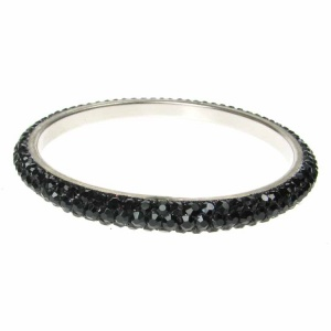 Black Crystal Bangle - Three Rows
