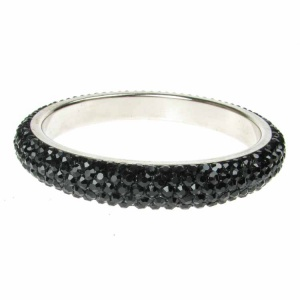 Black Crystal Bangle - Five Rows