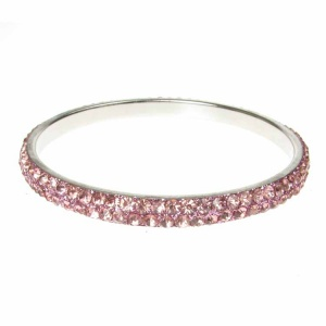 Baby Pink Crystal Bangle - Two Rows