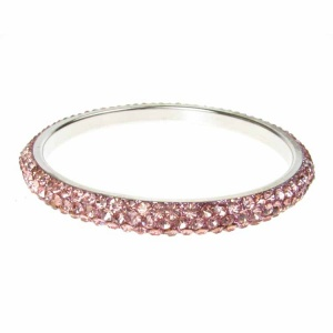 Baby Pink Crystal Bangle - Three Rows